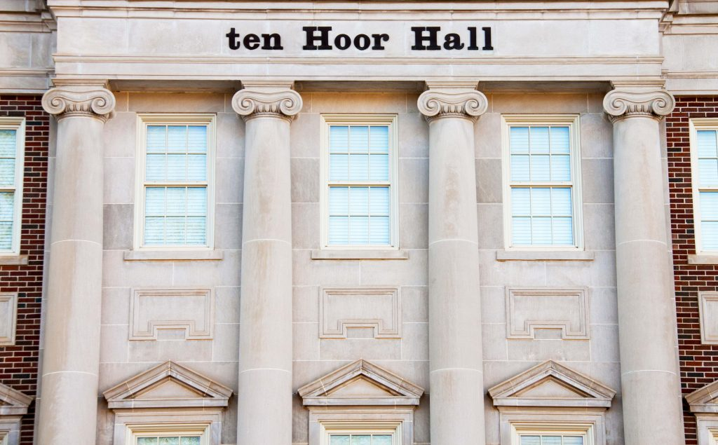 detail of the front of ten hoor hall